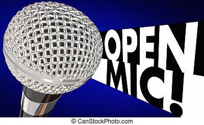 rgeöffnete, mic, mikrophon, mikrophon, nacht, 3d, abbildung