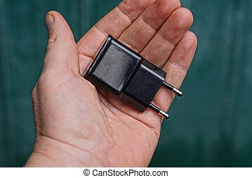 rgeöffnete, schwarz, plastik, handfläche, ladegerät, lies