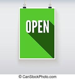 rgeöffnete, shoppen, tür, zeichen & schilder, brett