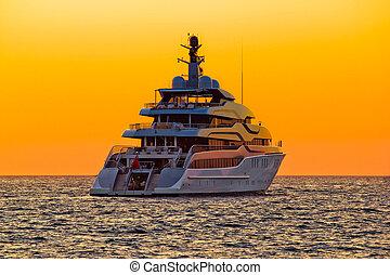 rgeöffnete, sonnenuntergang, yacht, luxus, meer
