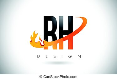 RH R H Letter Logo with Fire Flames Design and Orange...