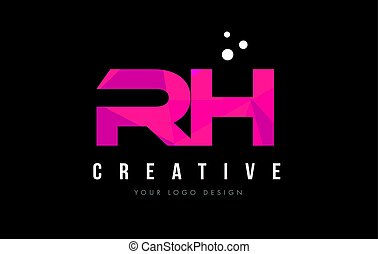 RH R H Letter Logo with Purple Low Poly Pink Triangles...