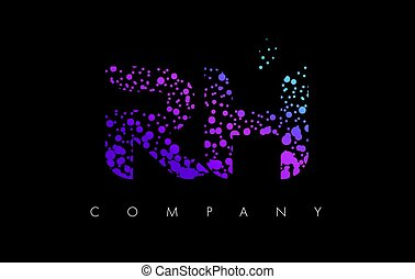 RH R H Letter Logo with Purple Particles and Bubble Dots -...