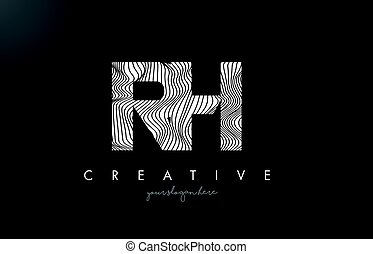 RH R H Letter Logo with Zebra Lines Texture Design Vector. -...
