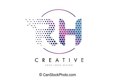 RH R H Pink Magenta Dotted Bubble Letter Logo Design Vector...