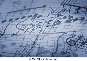 Rhapsody in Blue - hand-written musical notation background.