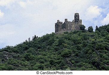 rhein, flußtal, castle-, bei, koblenz, deutschland