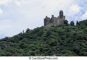 Rhein river valley castle- near Koblenz, Germany - Ruins of...