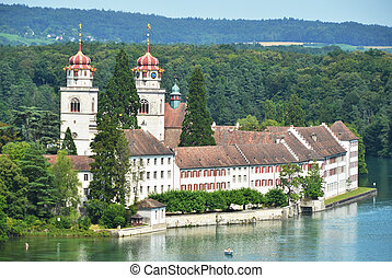 rheinau, аббатство, через, рейн, река, швейцария