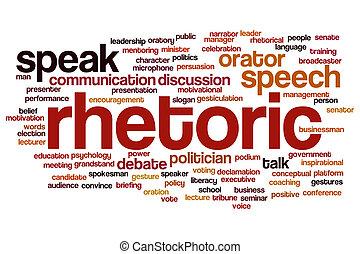 Rhetoric word cloud concept