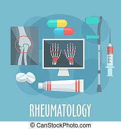Rheumatology flat icon for healthcare design