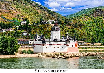 rhin, allemagne, impressionnant, -pfalzgrafenstein, paysage rivière, island., petit
