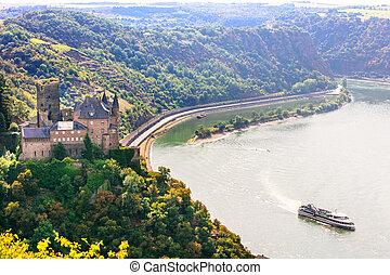 rhin, allemagne, moyen-âge, vallée, romantique, castles., beau