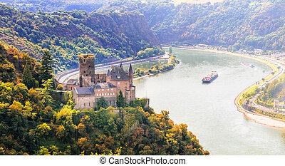 rhin, magnifique, allemagne, moyen-âge, vallée, romantique, castles.