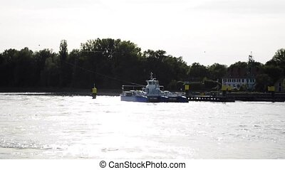 rhine ferry at the German French border at Plittersdorf Selz...