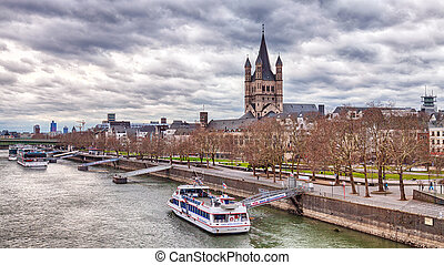 Rhine in Cologne with the Great St. Martin Church