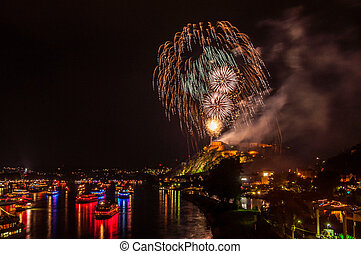 Rhine in Flames - firework display of Rhine in Flames in...