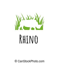 Rhine logo template. Silhoutte rhinoceros in green grass...