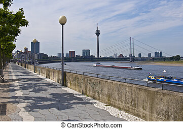 Rhine promenade - view of the rhine promenade in Duesseldorf