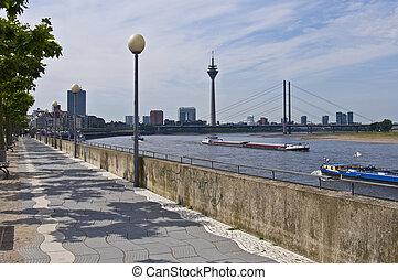 Rhine promenade - view of the rhine promenade in Duesseldorf