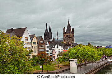 Rhine River Embankment in Cologne in the autumn in cloudy...