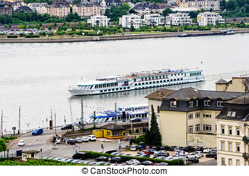 Rhine River in Germany - River boat on the Rhine River as it...