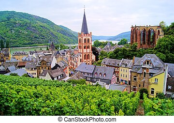 Rhine river village - View over Bacharach along the famous ...