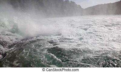 Rhine waterfall in Switzerland. Camera shaking effect.
