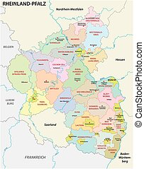 Rhinelandpalatinate map in german language eps vector Search Clip
