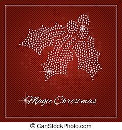 Rhinestone Holiday Season Template - Holly berry, mistletoe....