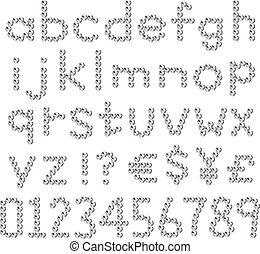 rhinestones, fontes, pequeno, letra