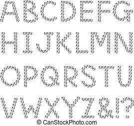 Rhinestones, fonts, capital letter, set