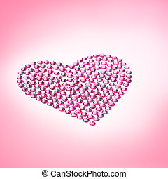 Rhinestones in form of a heart