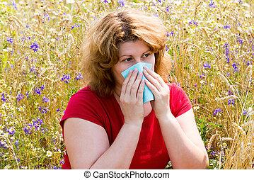 rhinitis, mujer, pradera, grasa, alérgico