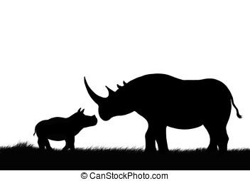 rhino and calf - illustration, black silhouette of ...