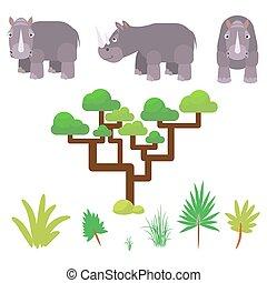 Rhino and savannah plants set cartoon vector illustration on white.