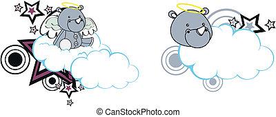 rhino angel cartoon cloud copyspace