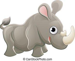 Rhino Animal Cartoon Character - A cute rhinoceros rhino...