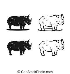 rhino animal logo design