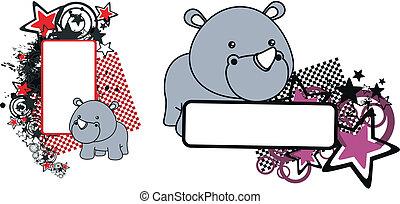 rhino baby cartoon copyspace