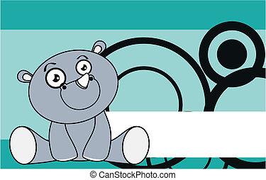 rhino baby cute sit cartoon backgro