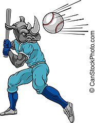 Rhino Baseball Player Mascot Swinging Bat at Ball