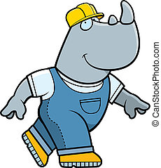 Rhino Builder - A cartoon rhino builder walking.