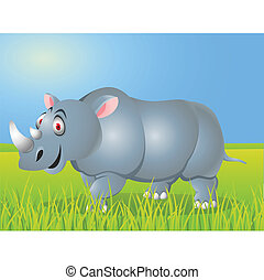 Rhino cartoon - Vector illustration of rhino cartoon