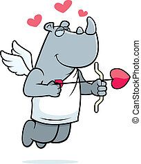 Rhino Cupid - A happy cartoon rhino cupid with a bow and...