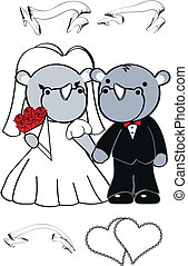 rhino cute cartoon wedding set