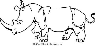 Rhino - cute, stylized vector illustration of a rhinocerous