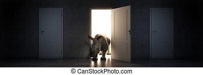 rhino enters an open door, 3d rendering