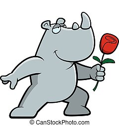 Rhino Flower - A happy cartoon rhino with a flower.