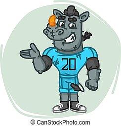 Rhino Football Player Shows
